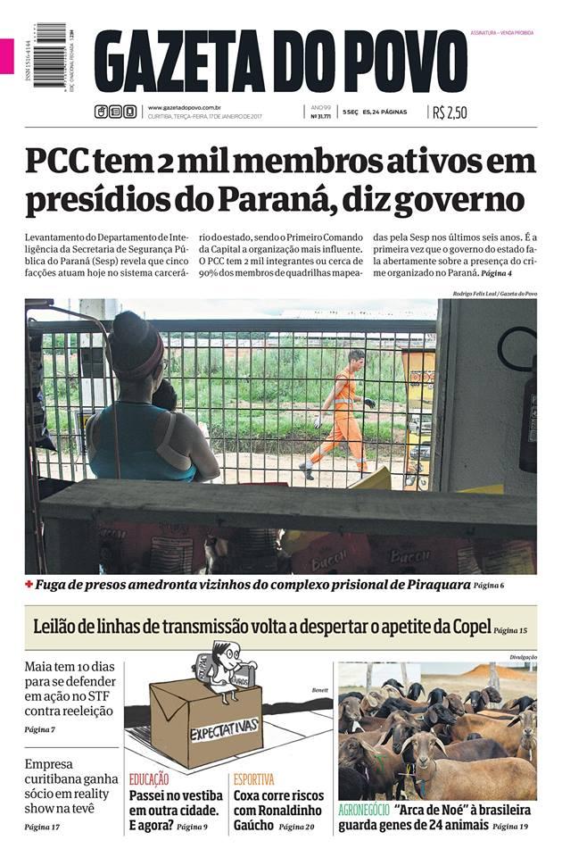 capa gazeta do povo 17.01.2017 eudes sippel Prefeitos cortam gastos com festas para demonstrar austeridade